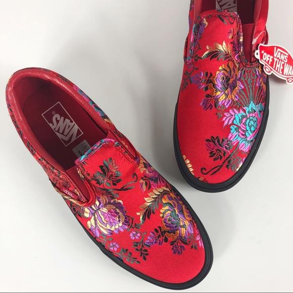 f7d503a1b4 Vans Red Festival satin classic slip on shoe 8.5